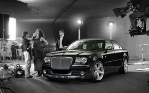 Picture light, girl, black, Chrysler 300C, goodfon.ru
