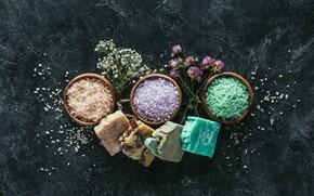Picture flowers, Spa, Soap, sea salt