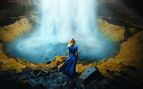 Picture girl, waterfall, dress, Ronny Garcia, Beautiful dream