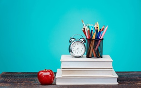 Wallpaper pencils, Apple, alarm clock, watch, background, colorful, books, table