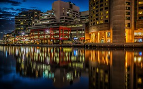 Picture water, night, lights, reflection, river, home, Australia, lights, Melbourne