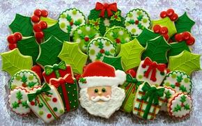 Picture snowflakes, cookies, glaze, Santa Claus