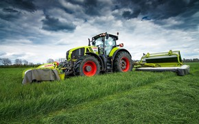 Picture field, the sky, grass, tractor, Claas Axion 950