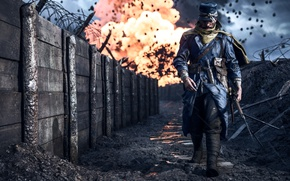 Picture gun, soldier, war, Battlefield, man, sniper, rifle, dagger, wepon, Battlefield 1