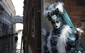 Picture feathers, mask, costume, Venice, channel, carnival