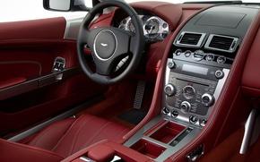 Picture Aston Martin, the wheel, DB9, salon, Coupe