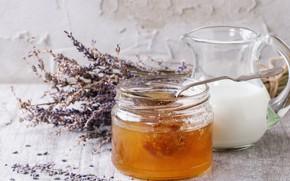 Picture flowers, milk, honey, lavender