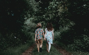 Picture Boy, Path, Trees, Children, Girl, Mood