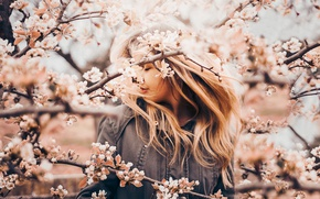 Picture girl, branches, mood, spring, Apple, flowering