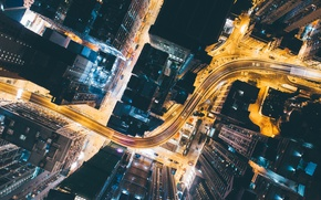 Wallpaper road, light, night, the city, lights, home, China, down, the view from the top