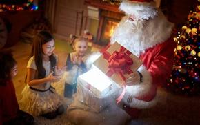 Picture winter, night, children, gift, magic, girls, tree, New year, fireplace, magic, Santa Claus, bow, garland, …