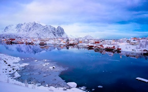 Picture winter, snow, mountains, Norway, town, the village, the fjord