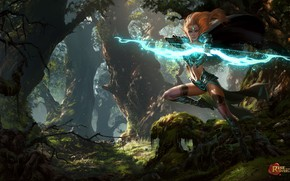 Picture forest, girl, fantasy, magic, elf, the game, bow, Archer, art, hunting, elf, game, shooter, Greg …