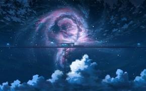 Wallpaper fantasy, night, the sky, station, K.Hati