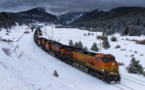 Wallpaper train, winter, railroad