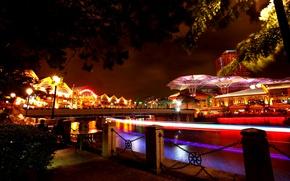 Picture night, bridge, lights, river, home, lights, Singapore, promenade, illumination