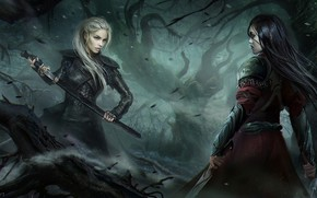 Picture girl, sword, forest, armor, weapon, ken, blade, darkness