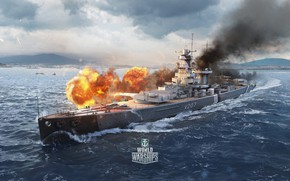 Picture fire, ship, artwork, World of Warships, admiral graf