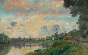 Picture landscape, picture, Albert Charles Lebar, Albert Lebourg, Banks of the Seine, on the Outskirts of …
