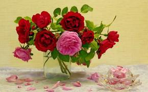Picture flowers, roses, beauty, bouquet, still life, composition, bouquets
