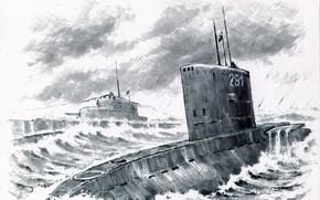Picture sea, wave, submarines
