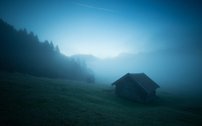 Picture mountains, fog, morning, Alps, the barn, haze, house