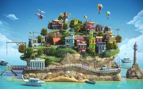 Picture island, settlement, Island, final render