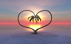 Picture sunset, palm trees, heart