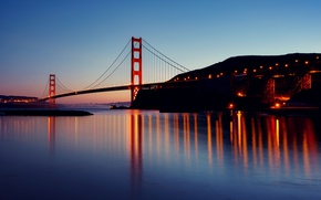 Wallpaper the Golden gate bridge, CA, twilight, San Francisco, reflection, the evening, lights