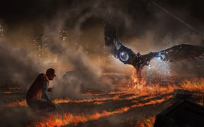Picture night, fiction, fire, flame, smoke, figure, art, sparks, fight, comic, MARVEL, Spider-Man, Peter Parker, Vulture, …