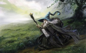 Picture fantasy, art, The Lord Of The Rings, Gandalf, Gandalf the Grey Study, Enrique Rivera