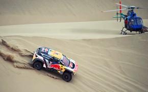 Picture Sand, Auto, Sport, Machine, Speed, Helicopter, Race, Peugeot, Lights, Red Bull, 300, Rally, Dakar, Dakar, …