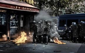 Wallpaper riots, shields, the city, Chaos, smoke, street, police, fire