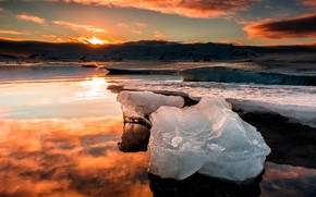 Picture ice, winter, the sky, the sun, clouds, light, snow, sunset, mountains, nature, reflection, shore, ice, …