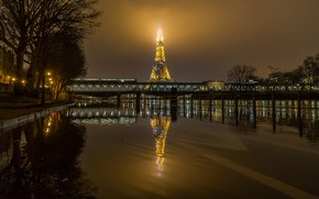 Picture water, trees, night, bridge, lights, reflection, river, France, Paris, home, lights, Eiffel tower, promenade