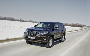 Picture snow, movement, track, SUV, Toyota, 4x4, Land Cruiser, the five-door
