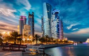 Picture water, skyscraper, Qatar, Doha, metropolis