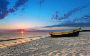 Wallpaper waves, beach, twilight, sky, sea, landscape, nature, sunset, water, clouds, evening, sun, sand, Boat
