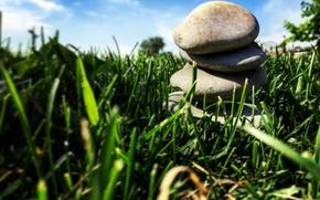 Picture greens, summer, grass, landscape, stones, AristovArt