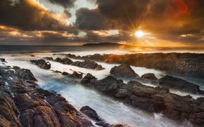 Wallpaper sea, the sky, the sun, nature, glare, stones, rocks