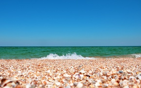 Picture sea, the sky, landscape, nature, shell, shell, Crimea, the sand is made of seashells, the …