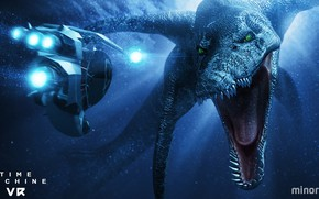 Picture dinosaur, underwater vehicle, Time Machine VR
