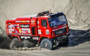 Picture Sand, Red, Sport, Truck, Race, Rally, Dakar, Dakar, Rally, The roads, MAZ, MAZ, Contest, 518