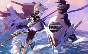 Picture the sky, girl, birds, weapons, fiction, Azur Lane