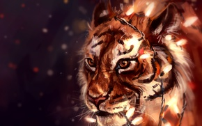 Wallpaper tiger, garland, by AlaxendrA