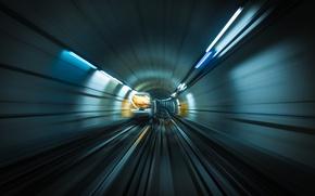 Wallpaper movement, metro, rails, train, speed, blur, the tunnel, underground, subway