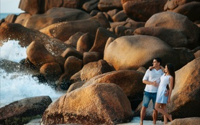 Picture stones, the ocean, shore, pair, lovers, boulders