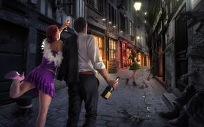 Wallpaper girl, street, bottle, pair, guy, night city, fun