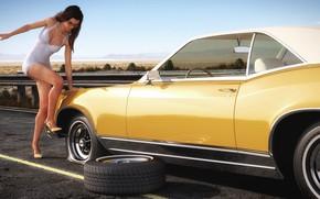 Picture woman, car, repair, Buick Riviera, Flat tire in the desert