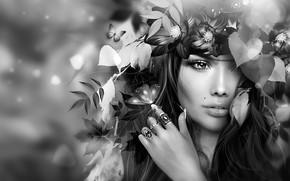 Wallpaper flowers, face, girl, mole